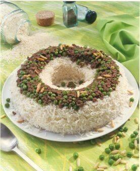 أرز مصرى بالبازلاء واللحم المفروم