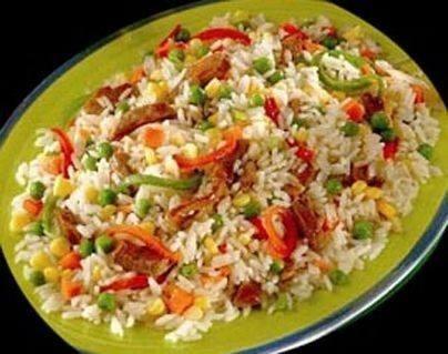 أرز بسلطة الخضروات